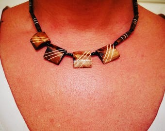 Four Square Wood Bead Necklace