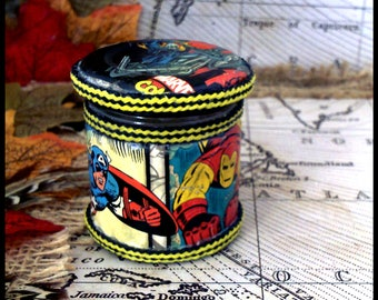 Marvel(lous) Comic Hand Decorated Mini Secret Stash Jar Herbs/Jewellery...Wedding/Party Favour Gift 45ml