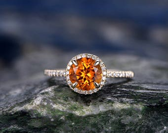 Yellow Citrine engagement ring-Solid 14k Yellow gold-handmade diamond ring-Halo stacking band-7mm round cut gemstone promise ring
