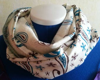 Infinity scarf, loop scarf,  paisley pattern, cotton