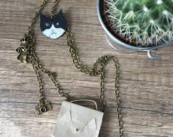 """Collier """"mini sac chacha"""" chaine bronze"""