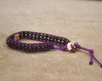 Purple Leather Wrap Bracelet