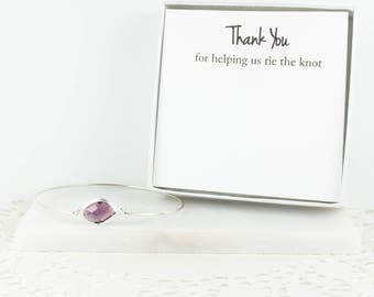 Amethyst Silver Bangle, Bridesmaid Sterling Silver Amethyst Bracelet, Silver Bracelet, Purple Wedding Accessories, Bridesmaid Jewelry
