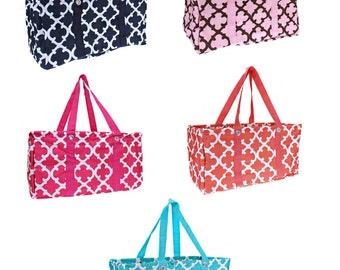 Monogrammed Quatrefoil Utility Tote - TEACHER Bag - Quatrefoil Pattern - Carryall Tote -Car Organizer - Summer Tote Great Valentine's Gift