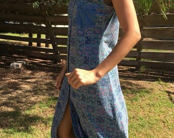 VINTAGE 90s 80s Button Up Collared Boho Patchwork Denim Midi Dress SMALL-MED