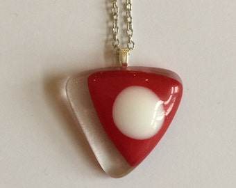 Triangle Series - Funky red and clear fused glass triangle pendant