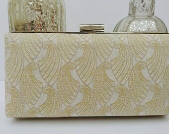 Bridal clutch, wedding clutch, art deco clutch, minaudiere clamshell style clutch, metallic fabric clutch