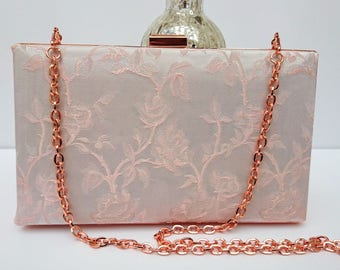 Blush pink clutch, rose gold clutch, pink wedding clutch, minaudiere hardcase clutch, prom clutch, gift for her, pink gift