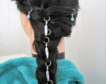 Feathers and Aquamarine Hair Rings, Native American Hair rings, Squaw Hair Rings, Trendy hair rings, Braid hair rings