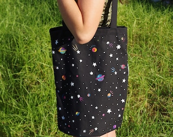 Hand painted Planets, Stars, Galaxy Tote Bag made to order
