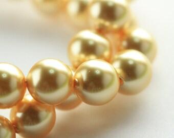 10pcs, Genuine Swarovski® 5811 10.0 mm Crystal Gold Pearl 296