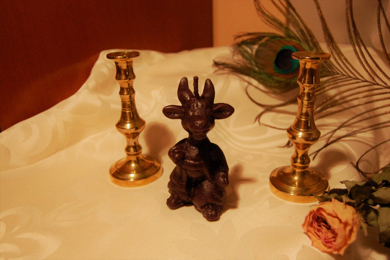 Black Satanic Candle Baphomet Goat Spiritual Satanism Ritual