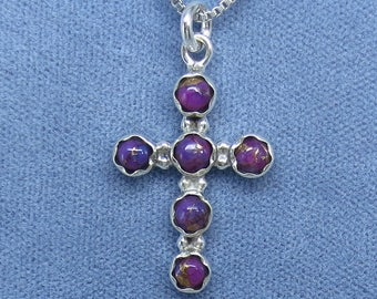 Mojave Purple Copper Turquoise Dainty Cross Necklace - Sterling Silver - Simple - 180801 - Free Shipping