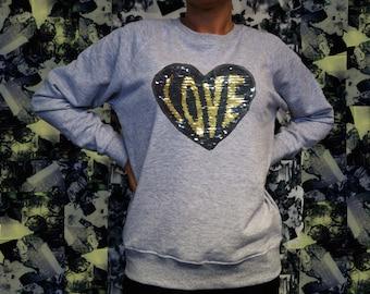 Reversible SEQUIN HEART sweater