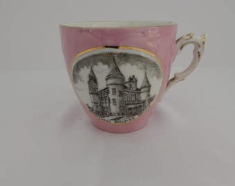 Pink China Mustache Cup from the early 1900s before 1915 from Orillia Ontario Canada Commemortive Cup
