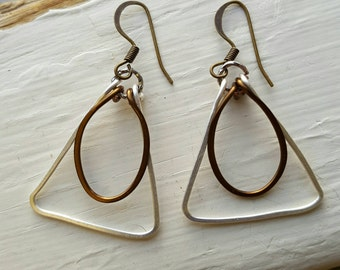 Hammered silver-plated and copper earrings