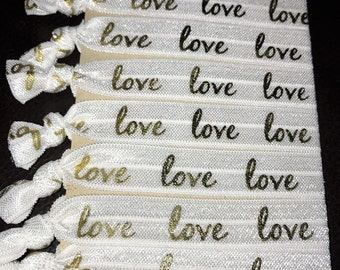 """5/8"""" Love Themed Elastic Hair Ties, Set of 8 Ties Perfect for Everyday Wear, Gifts For Her, Party Favors, Bridal Party Favors, Goodie Bags"""