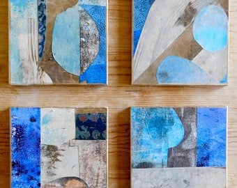 Original Abstract Art-Feng Shui-Free Shipping-Art for Small Spaces-Contemporary Art and Decor-Home Decor-Blues-Calming Colors-Set of Four