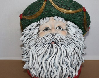 Santa Ceramic Candy Dish, Hand painted with removable wreath hat