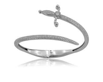 925K Sterling Silver Sword Bangle Cz Diamond Bangle Bracelet Rhinestone Sword Bangle Bracelet