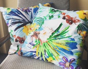 Tropical Jungalow Glam 18x18inch 45x45cm Throw Pillow Cushion Covers Blue Print