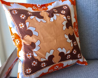 Vintage Orange and Brown Throw Pillow Old Scarf 45x45cm 18x18inch Cushion Cover