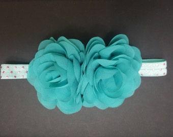 Turquoise chiffon flower headband