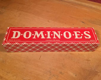 Vintage Retro HAL-SAM Made in the USA Dominoes 28 pieces Double-Sixes