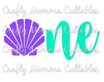 Seashell ONE SVG file // Mermaid First Birthday Svg // 1st birthday Cut File // Mermaid birthday Silhouette File // Cutting File // SVG file