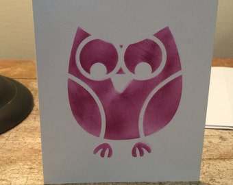Owl stenciled blank cards