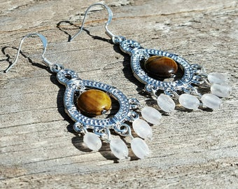 Tiger Eye Earrings with Agate