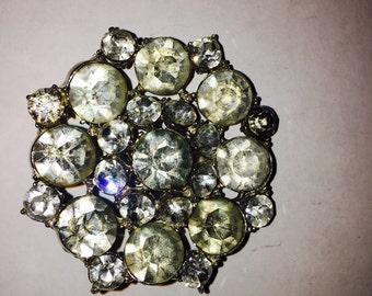 Vintage Round Rhinestone Pin Brooch