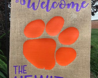 Personalized Clemson Garden Flag, Burlap Garden Flag, Welcome Flag, Clemson Tigers Flag
