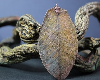 Rustic Copper Leaf Pendant (44)