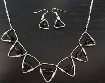 Wire wrapped Onyx Necklace set