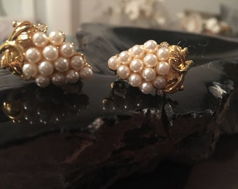 Faux pearl and gold tone grape cluster clip on earrings