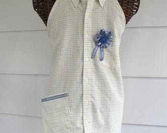 Upcycled Shirt Apron in Spring Colors