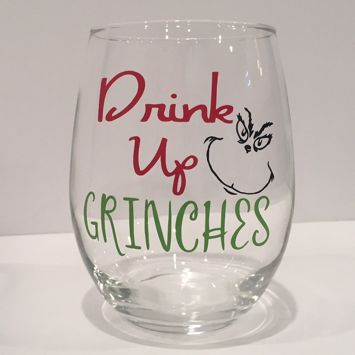 Drink up grinches wine glass christmas wine glass christmas - Funny wine glasses uk ...