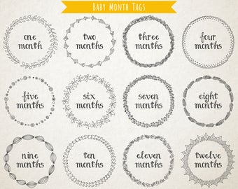Baby Month Tags - Printable Montly Milestones - Aesthetic Wreath Design