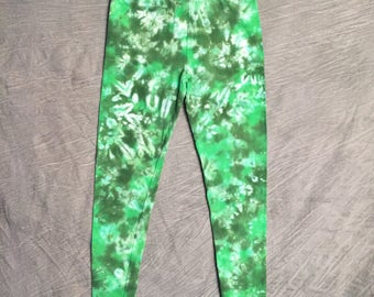 Green Tie Dye Leggings , Womens Large , Tye Dye Leggings , Scrunch Dye , Fun Leggings , Womens Tye Dye , Cute Yoga Pants , RA0317124