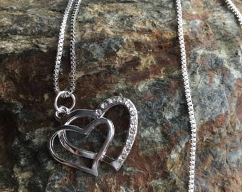 Silver tone chain with 2 Heart Rhinestone
