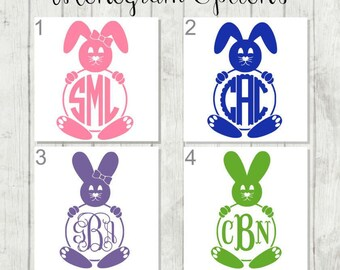 Monogram Bunny Decal, Bunny Monogram, Personalized Bunny Decal, Easter DIY, Easter Sticker, Easter Bucket Decal, Bunny Tumbler Decal