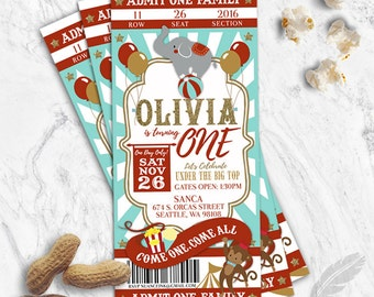 Circus Birthday Party Ticket Invitations, baby shower, digital file, you print, carnival, clowns, monkeys