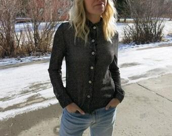Sheer Sparkle Blouse // Disco Button Up // Metallic Shirt // Metallic Blouse