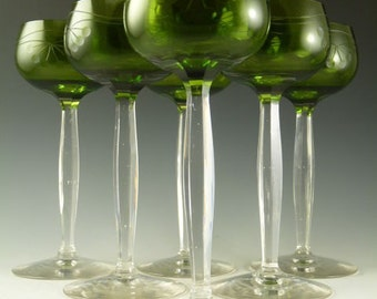 THERESIENTHAL Crystal Glass - Green Coloured Hock Wine Glasses - Set of 6