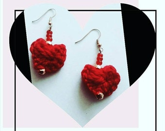Crocheted Heart Ear Rings