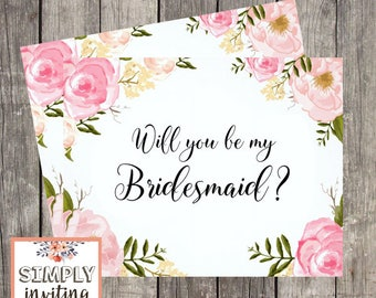 Will You Be in My Bridal Party Ask Card Set, Printed Note Card, Wedding Party Card, Bridal Proposal Card, Floral Watercolor