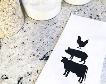 Farm Tea Towel. Farmhouse Tea Towel. Chicken Tea Towel. Pig Tea Towel. Cow Tea Towel.