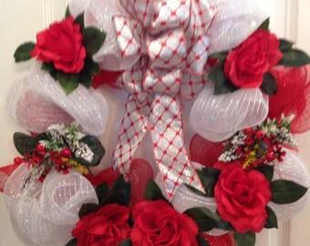 Red Rose Summer Wreath