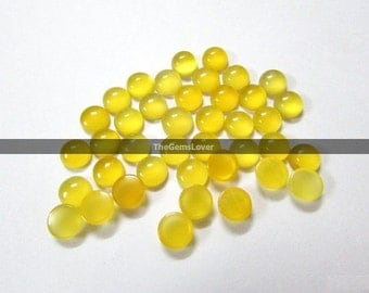 10 pieces 5mm yellow chalcedony cabochon round gemstone Natural yellow chalcedony round cabochon yellow chalcedony loose gemstone